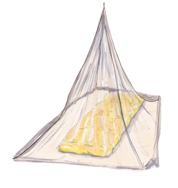 Moskitonetz in Trapezform mit Einzelaufhängung