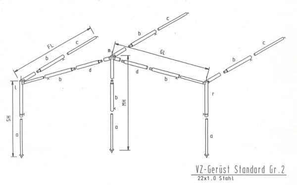Gestänge Sonnenvordach Stahl 22mm bis 980cm Umlauf