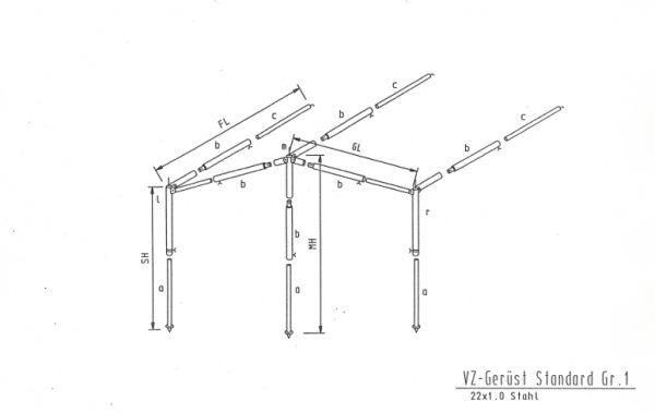 Gestänge Sonnenvordach Stahl 22mm bis 840cm Umlauf