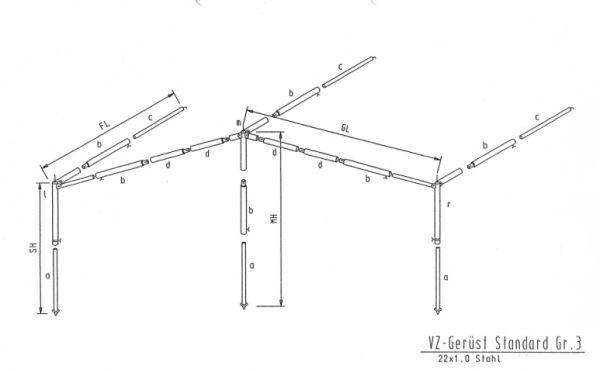 Gestänge Sonnenvordach Stahl 22mm bis 1155cm Umlauf