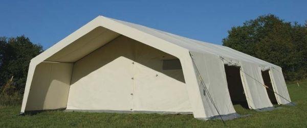 Stromeyer Mannschaftszelt Monsun ✓ 2 Eingänge geöffnet ✓ Vorderwand 1 Feld nach hinten gesetzt